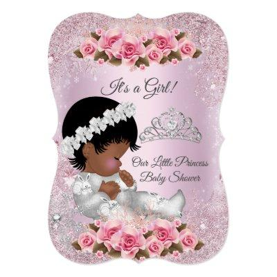 Princess Baby Shower Girl Pink Roses ethnic Invitation