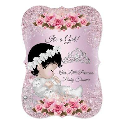 Princess Baby Shower Girl Pink Roses Invitation