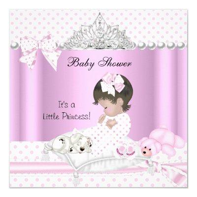 Princess Baby Shower Girl Puppy Tiara Invitation