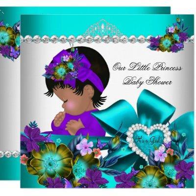 Princess Baby Shower Girl Teal Blue Purple 3 Invitations