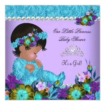 Princess Baby Shower Girl Teal Blue Purple Invitations