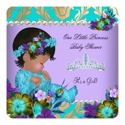 Princess Baby Shower Girl Teal Blue Purple Gold Invitations