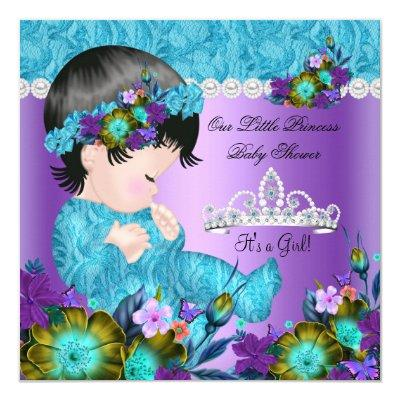 Princess Baby Shower Girl Teal Blue Purple New 2 Invitation