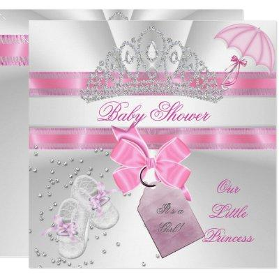Princess Baby Shower Girl White Pink Tiara Magical Invitations