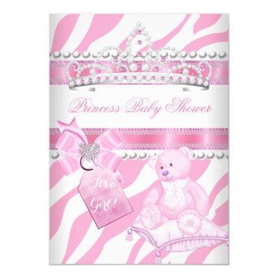 Princess Baby Shower Girl Zebra Pink White Bear Invitation