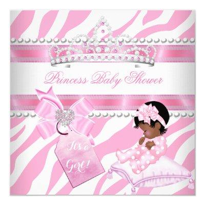 Princess Baby Shower Girl Zebra Pink White Ethnic Invitation