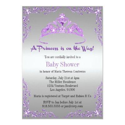 Cute purple silver lavender baby shower invitations baby shower princess princess purple ethnic princess baby shower diaper raffle enclosure invitations purple ethnic filmwisefo