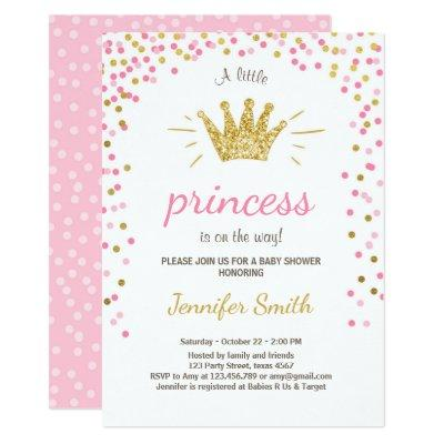 Princess Baby Shower Invitations Pink Gold Glitter