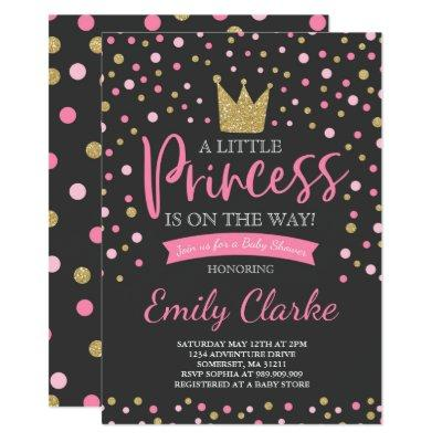 Princess Baby Shower Invitation Pink Gold Shower