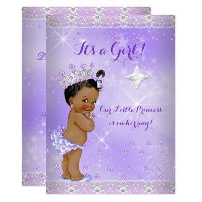 Princess Baby Shower Lilac Lavender Tiara Ethnic Invitations