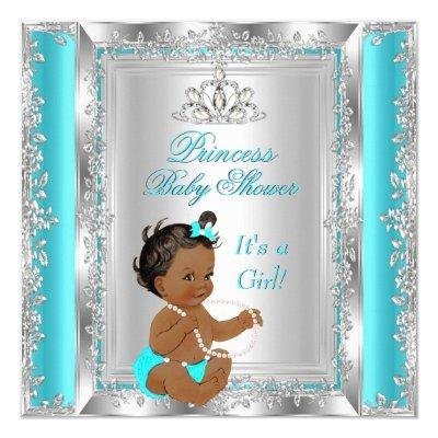 Princess Party Teal Silver Ethnic Invitations