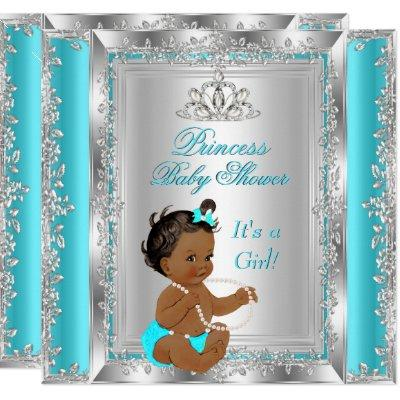 Princess Baby Shower Party Teal Silver Ethnic Invitations