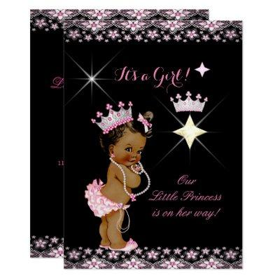 Princess Baby Shower Pink Black Tiara Ethnic Invitations