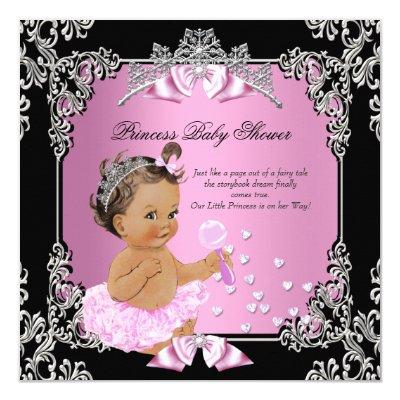 princess baby shower pink silver baby shower invitations | baby, Baby shower invitations