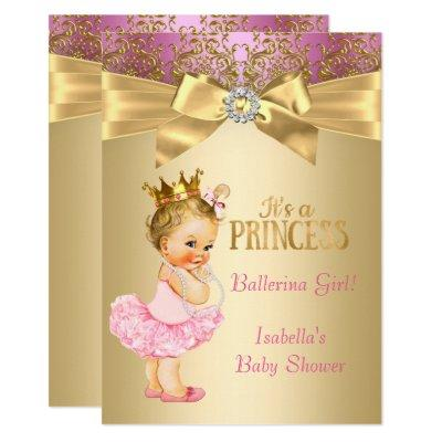 Princess Baby Shower Pink Gold Ballerina Blonde Invitations