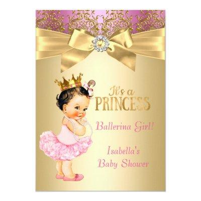 Princess Baby Shower Pink Gold Ballerina Brunette Invitations