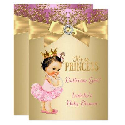 Princess Baby Shower Pink Gold Ballerina Brunette Invitation
