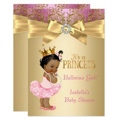 Princess Pink Gold Ballerina Ethnic Invitations