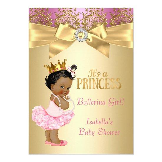 Princess Baby Shower Pink Gold Ballerina Ethnic Invitations