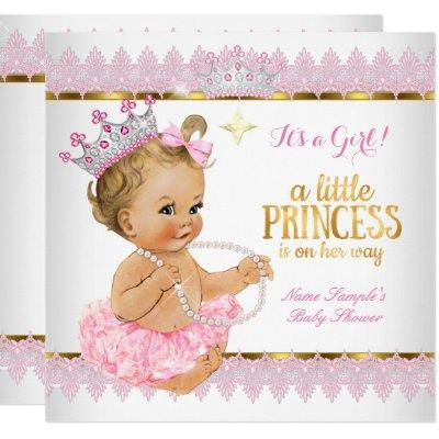 Princess Baby Shower Pink Gold Blonde Girl Invitations
