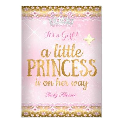 Princess Baby Shower Pink Gold Foil Lace Tiara Invitations