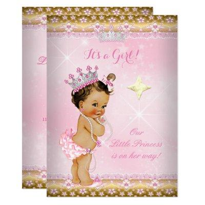 Princess Baby Shower Pink Gold Lace Tiara Brunette Invitations