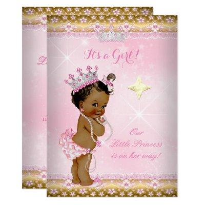 Princess Baby Shower Pink Gold Lace Tiara Ethnic Invitations