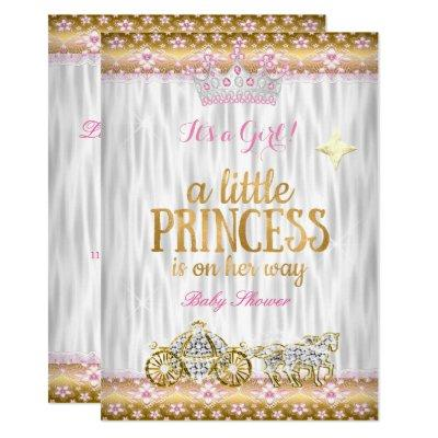 Princess Baby Shower Pink Gold White Carriage Invitations