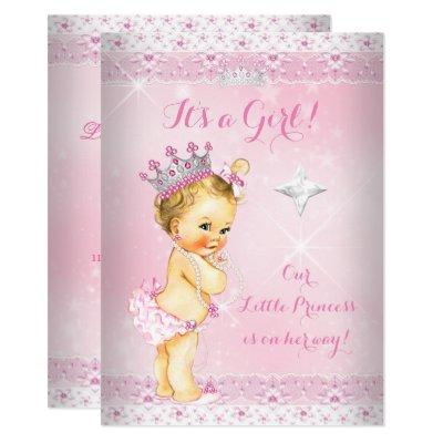 Princess Baby Shower Pink Lace Tiara Blonde Invitations