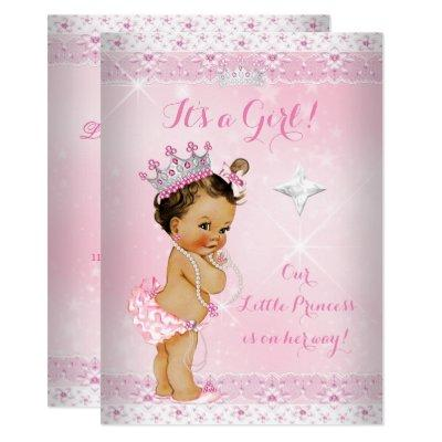 Princess Baby Shower Pink Lace Tiara Brunette Invitations