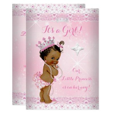 Princess Baby Shower Pink Lace Tiara Ethnic Invitations