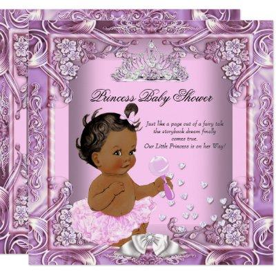 Princess Baby Shower Pink Purple Tutu Ethnic Invitation