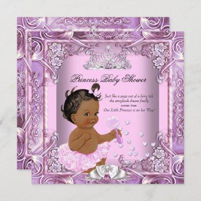 Princess Baby Shower Pink Purple Tutu Ethnic Invitation