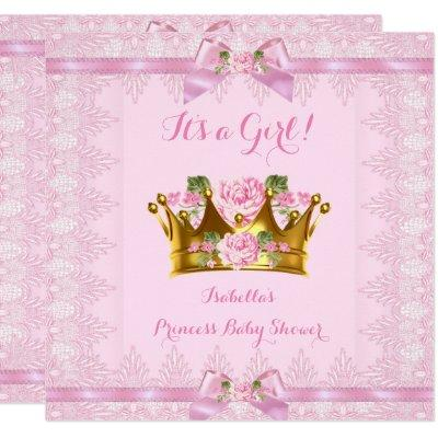 Princess Baby Shower Pink Rose Lace Bow Invitation