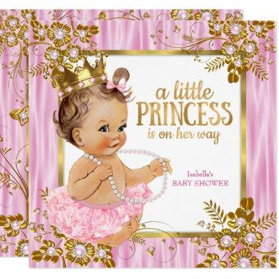 Princess Baby Shower Pink Silk Floral Brunette Invitations