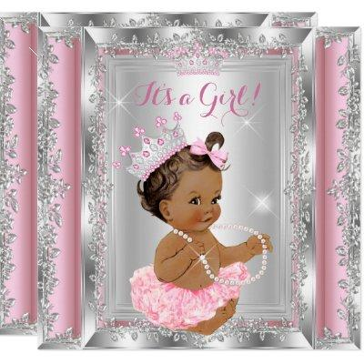 Princess Baby Shower Pink Silver Tutu Brunette 2 Invitations