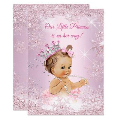 Princess Baby Shower Pink Snowflake Winter Invitation