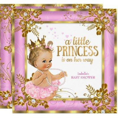 Princess Baby Shower Pink Tutu Floral Blonde Invitations