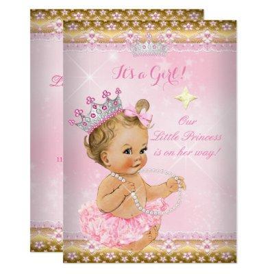 Princess Baby Shower Pink Tutu Gold Tiara Blonde Invitations