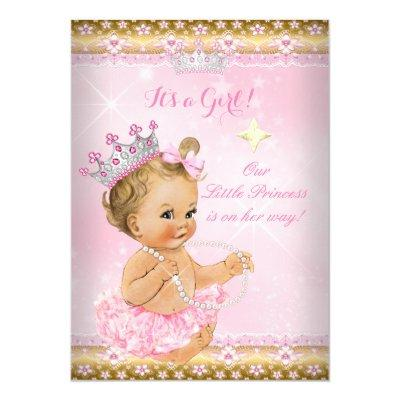 Princess Baby Shower Pink Tutu Gold Tiara Blonde Invitations