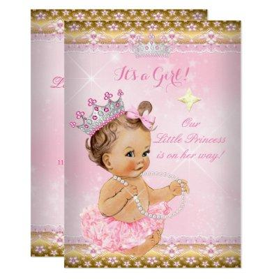 Princess Baby Shower Pink Tutu Gold Tiara Brunette Invitations
