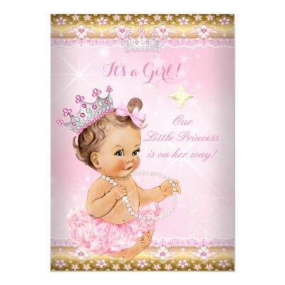 Princess Baby Shower Pink Tutu Gold Tiara Brunette Invitations