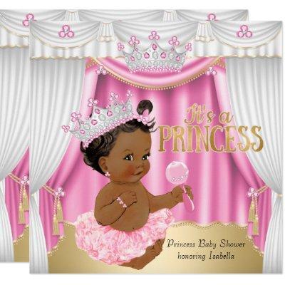 Princess Baby Shower Pink White Gem Gold Ethnic Invitations