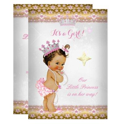 Princess Baby Shower Pink White Gold Tiara Brunett Invitation