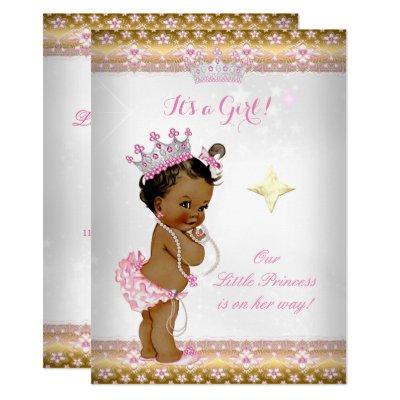 Princess Baby Shower Pink White Gold Tiara Ethnic Invitations