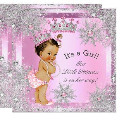 Princess Baby Shower Pink Winter Wonderland Invitation