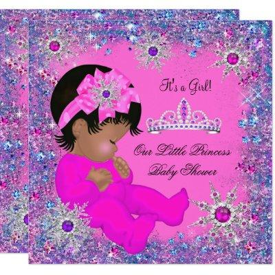 Princess Baby Shower Purple Pink Glitter Ethnic Invitation