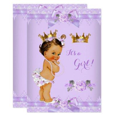 Princess Baby Shower Purple Rose Lace Brunette Invitations