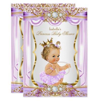 Princess Baby Shower Purple Silk Gold Blonde Invitations