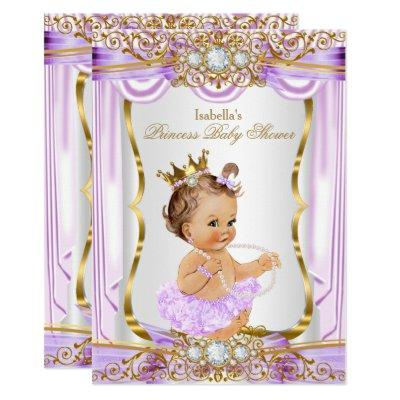 Princess Baby Shower Purple Silk Gold Brunette 2 Invitations